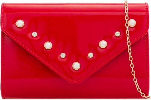ikabelky Lakovaná listová kabelka s perlami K-Z2276 červená - Glami.sk 399592fe78a