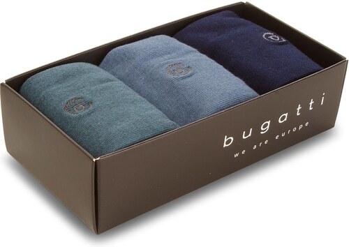 Súprava 3 párov vysokých ponožiek pánskych BUGATTI - 6876X Dark Indigo 526 0443f521bf