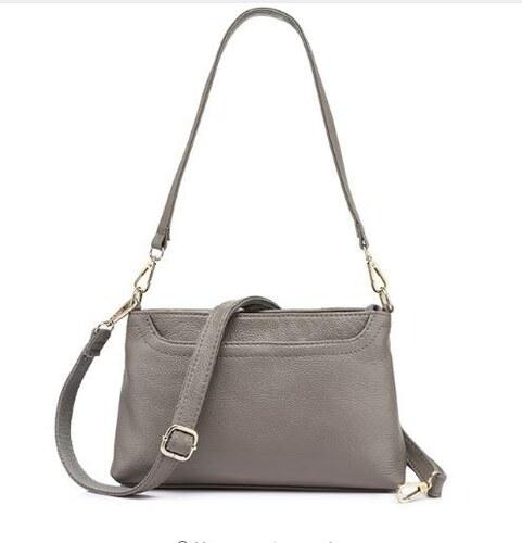 f6542ff57f41 Realer Zsebes, keresztpántos női táska, oldaltáska, bőr, világosszürke