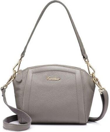 e6b68398d2 Realer Íves, női keresztpántos táska, oldaltáska , bőr, szürke ...