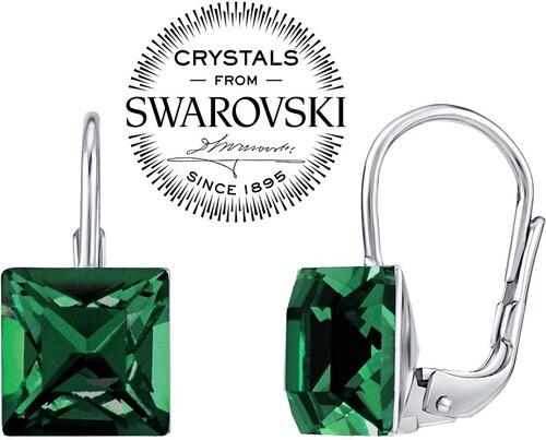 7261af4b1 Swarovski(R) Crystal SILVEGO Stříbrné náušnice se Swarovski Crystals 8 mm  tmavě zelené B314