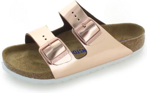 b1f65e58ce2c Birkenstock Dámské růžovozlaté kožené pantofle Arizona NL - Glami.cz