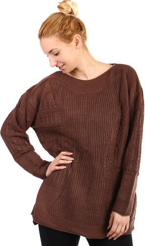 YooY Dámský oversized svetr - i pro plnoštíhlé (hnědá 0567c1baf5