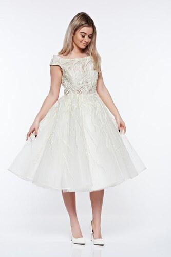 Fehér StarShinerS harang ruha gyöngy díszítéssel belső béléssel ... 26a8875df7