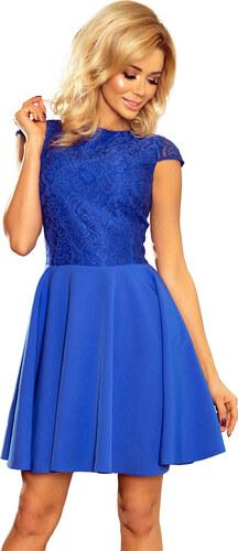bfeab175e8f2 NUMOCO Dámske modré elegantné šaty s čipkou 157-5 - Glami.sk