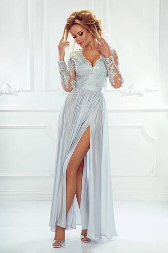 a02d9eb49054 EMO Dámské večerní šaty Leila šedé 40 - Glami.cz