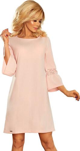 Numoco Dámské módní šaty MARGARET SE ZDOBENÝMI RUKÁVY růžové - Glami.cz f3e1887aaf