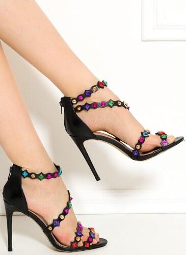 GLAM GLAMADISE shoes Dámské páskové černé sandály s kamínky - Glami.cz 5112d3924f