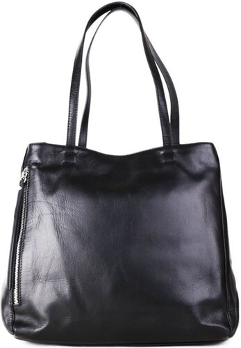 Talianske kožené luxusné kabelky cez plece čierne Vera Pelle Rozmari ... 205a7bd33c8