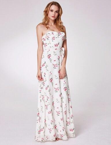 447e788a4d7 Ever-Pretty Bílé letní květované šaty bez ramínek - Glami.cz