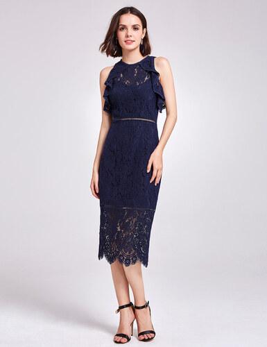 Alisa Pan Námořnicky modré krajkové šaty s americkými průramky ... 555028efed