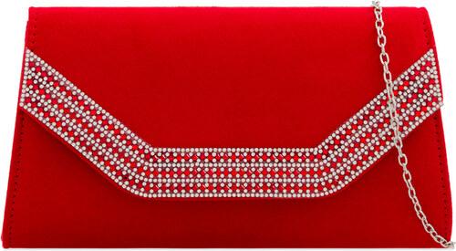 ikabelky Semišová listová kabelka s kamienkami K-Z2275 červené ... 8de5b404faa