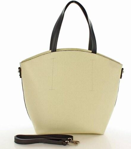 divatos női táska   kézi bevásárlótáska táska   természetes hatású bőrből -  Carina rózsaszín bézs színű a386d70ee0
