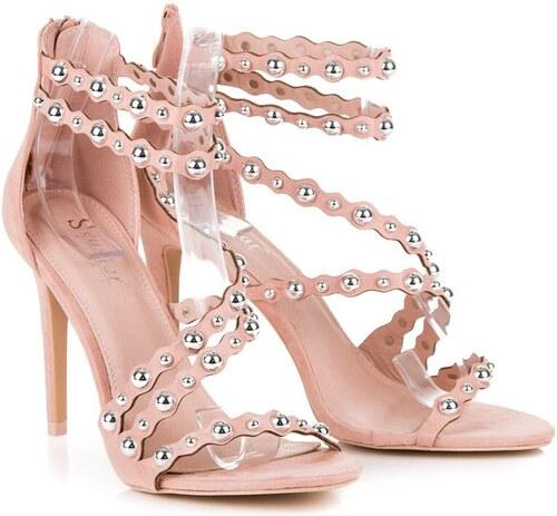46165f94a7cae SeaStar Ružové sandále na podpätku na zips - Glami.sk