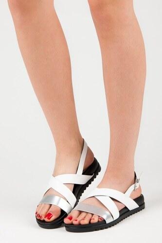 60ab552658 Vinceza Biele sandále nízke so zapínaním na sponu - Glami.sk