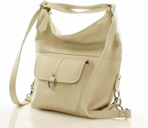 női táska - hátitáska   bőrből természetes hatású MAZZINI - Alessia  rózsaszín bézs színű panna a7d7d17939