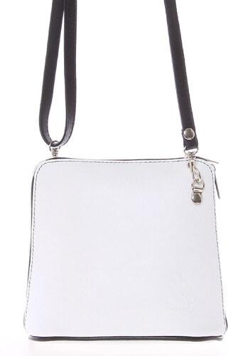 0a3e6be93f ItalY Bílá dámská kožená kabelka crossbody s černým zipem 10053 bílá ...