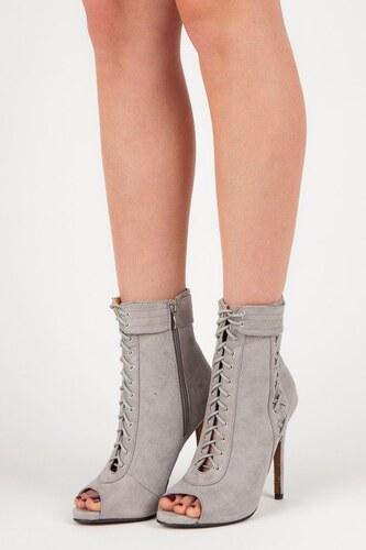 SEASTAR Stylové šedé šněrovací kotníkové boty s otevřenou špičkou ... d6da4f9a4e