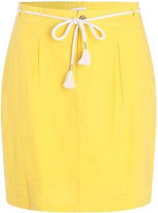 Jupe droite lin ceinture corde Jaune Lin - Femme Taille 34 - Cache Cache 8804bc7eeff