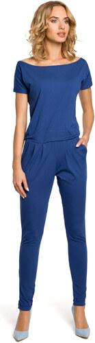 MOE Dámsky modrý úpletový overal s krátkym rukávom 065 - Glami.sk 664cd89772a
