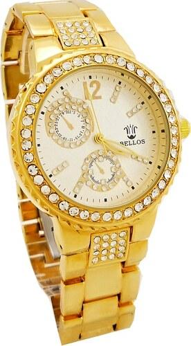 Dámské hodinky zdobené křišťály Bellos zlaté 069D - Glami.cz 4dd3a1b207