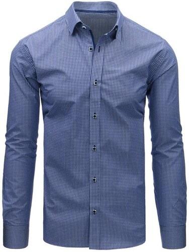 f0f5edbfff78 Manstyle Modrá pánska košeľa kockovaná s dlhým rukávom - Glami.sk