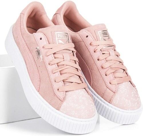 Klasické růžové kožené tenisky na platformě zn.Puma - Glami.sk f29ec21e652