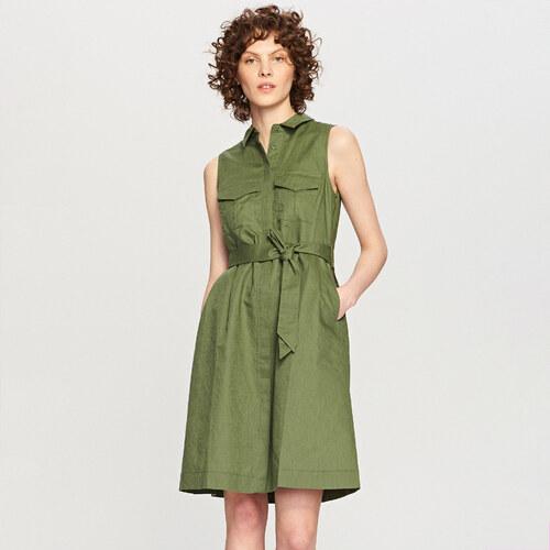 0c9d45f9a4c0 Reserved - Košilové šaty ze směsi lnu a bavlny - Khaki - Glami.cz