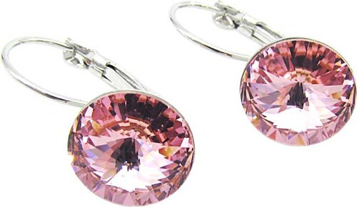 Náušnice rivoli 12 mm růžové se Swarovski crystals - Glami.cz 7c51fff1dbe