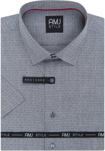 ccb5439379f AMJ pánská košile šedá s tečkovaným vzorem VKSR969