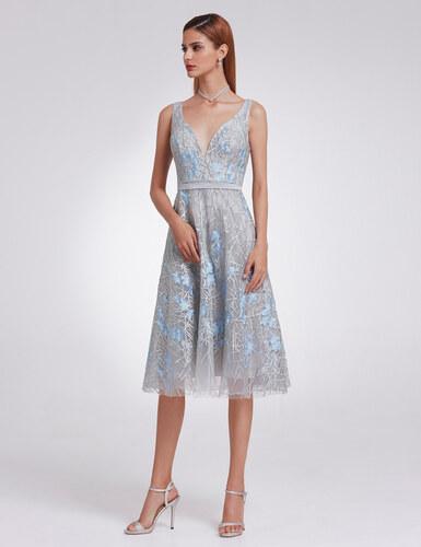 700f84442be Ever-Pretty Šedé krajkové šaty s modrými aplikacemi - Glami.cz