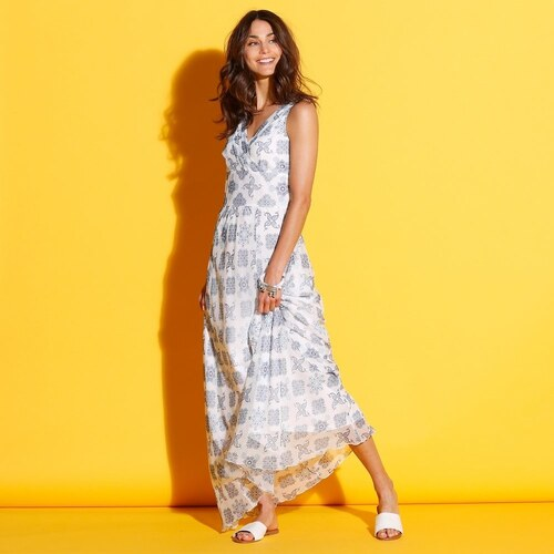Blancheporte Dlhé šaty s prekrížením biela modrá - Glami.sk 241ddedfcbe