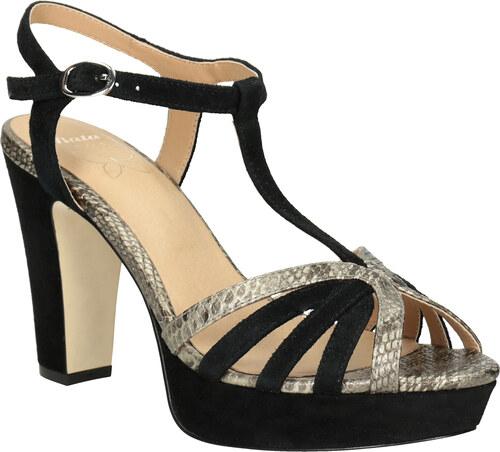 33b2e7cbb745 Insolia Čierno-zlaté kožené sandále na podpätku - Glami.sk