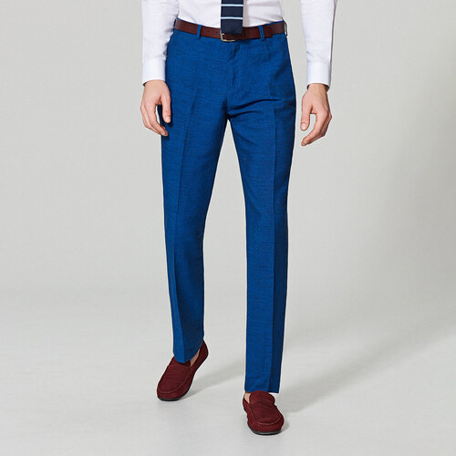 c19e0038ab2a Reserved - Ľanové oblekové nohavice regular fit - Modrá - Glami.sk