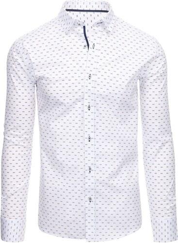 Dstreet Bílá pánská košile s nenápadným vzorem - Glami.cz b5da145556