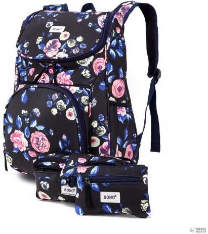 Miss Lulu London E1743-17F - Konomattte Oilcloth virágos hátizsák táska  ceruzaház és Money tartó f935157e0d