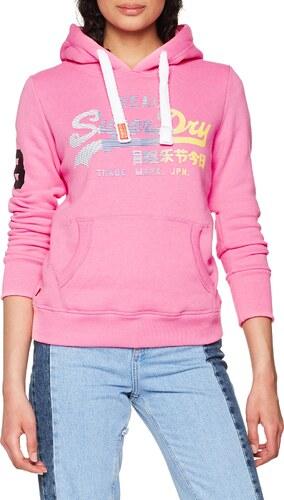 Superdry G20025PP, Sweat à Capuche Femme, Rosa (Fluro Pink Marl), XS ... a2d22662ddd4
