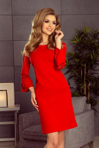 59c2de9bb3d5 numoco Červené dámské šaty s krajkou na rukávech 190-3 MARGARET ...