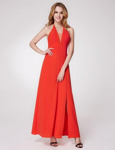 44e5dc68c16 Ever-Pretty Oranžové šaty ke kotníkům se zavazováním za krk - Glami.cz