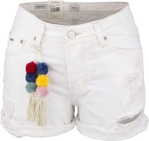 244807b9667 Pepe Jeans dámské bílé šortky Thrasher s bambulkami - Glami.cz