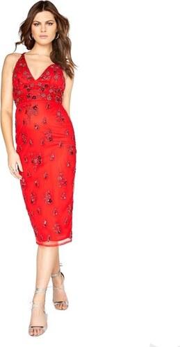 906b2a0e5714 LITTLE MISTRESS Červené květované midi šaty s překřížením - Glami.cz