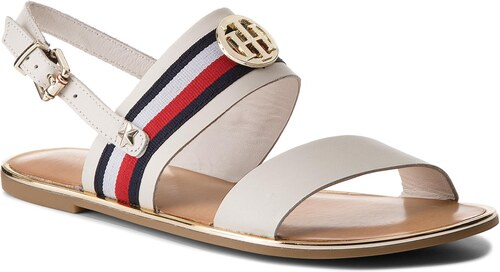 dc37427def Szandál TOMMY HILFIGER - Corporate Ribbon Flat Sandal FW0FW02811 Whisper  White 121