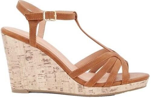 5c8bb18e47bb NEW LOOK Hnedé sandále na klinovom podpätku - Glami.sk
