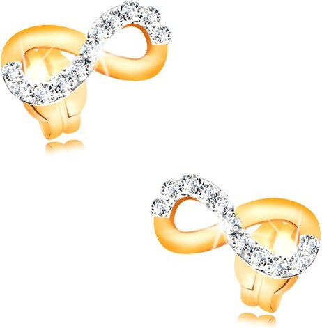 Šperky eshop - Zlaté náušnice 585 - symbol INFINITY zdobený líniou čírych  zirkónov GG34.12 876981210ed