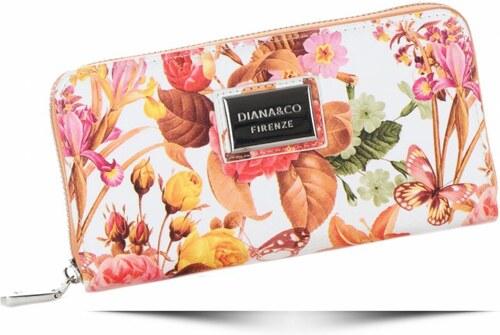 Módní Dámská peněženka Diana Co Firenze květinový vzor oranžová ... 04e69b2ebe