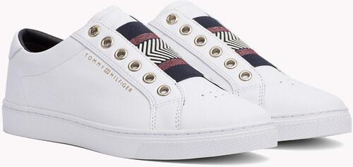 Tommy Hilfiger bílé kožené tenisky Iconic Metallic Elastic Sneaker White -  42 89b33aa641