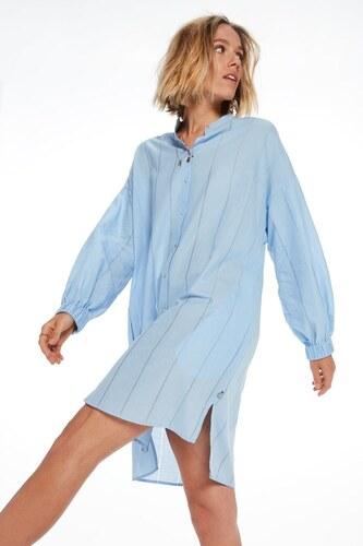 4e711317c010 Scotch Soda modré košilové oversized šaty - L XL - Glami.cz