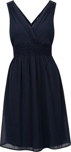7b45647a233c Tmavě modré šaty s véčkovým výstřihem VERO MODA Mira - Glami.cz