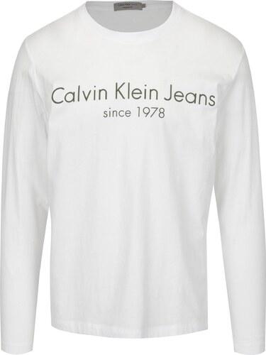 Bílé pánské tričko s potiskem a dlouhým rukávem Calvin Klein Jeans Treavik 85346542e4