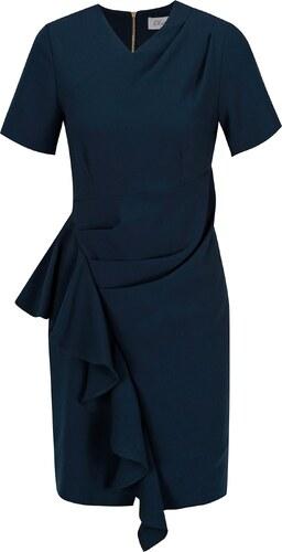 f301b37e1852 Tmavě modré pouzdrové šaty s volánem Closet - Glami.cz